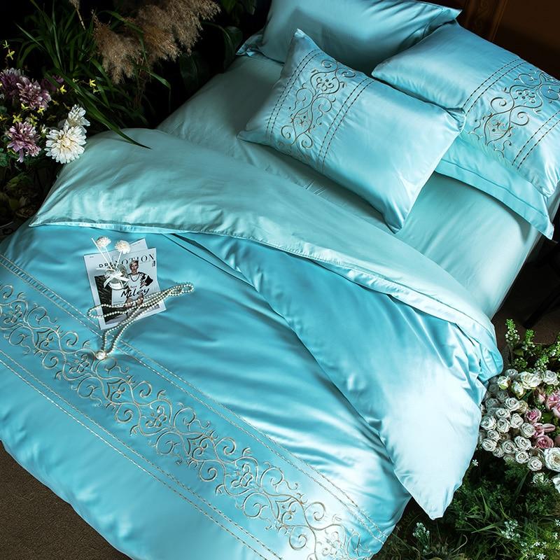 (3)  White silver cotton imitate silk luxurious Bedding Set queen king measurement mattress set Bedsheets linen Europe embroidery Quilt cowl set HTB1xpO3eScqBKNjSZFgq6x kXXao