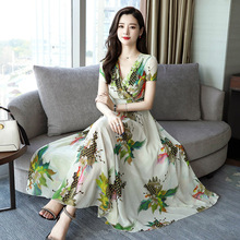 Summer Fashion V Collar Temperament Female Women Floral Big Hem Holidaybeach Chiffoon Dress