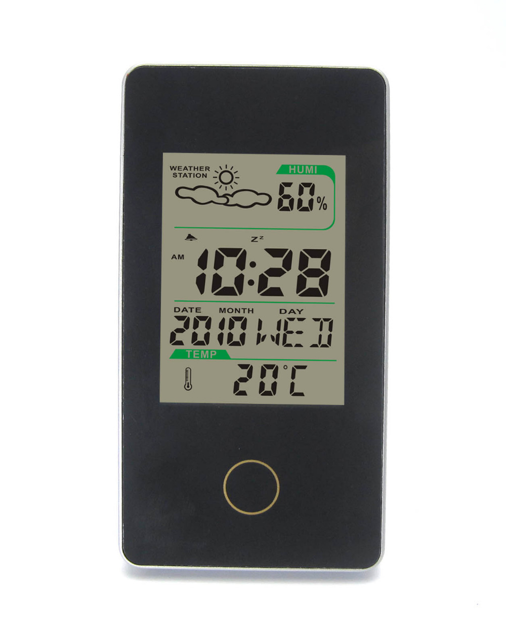 DYKIE Wireless Weather Station Black With Indoor Outdoor Temperature Digital Alarm Clock