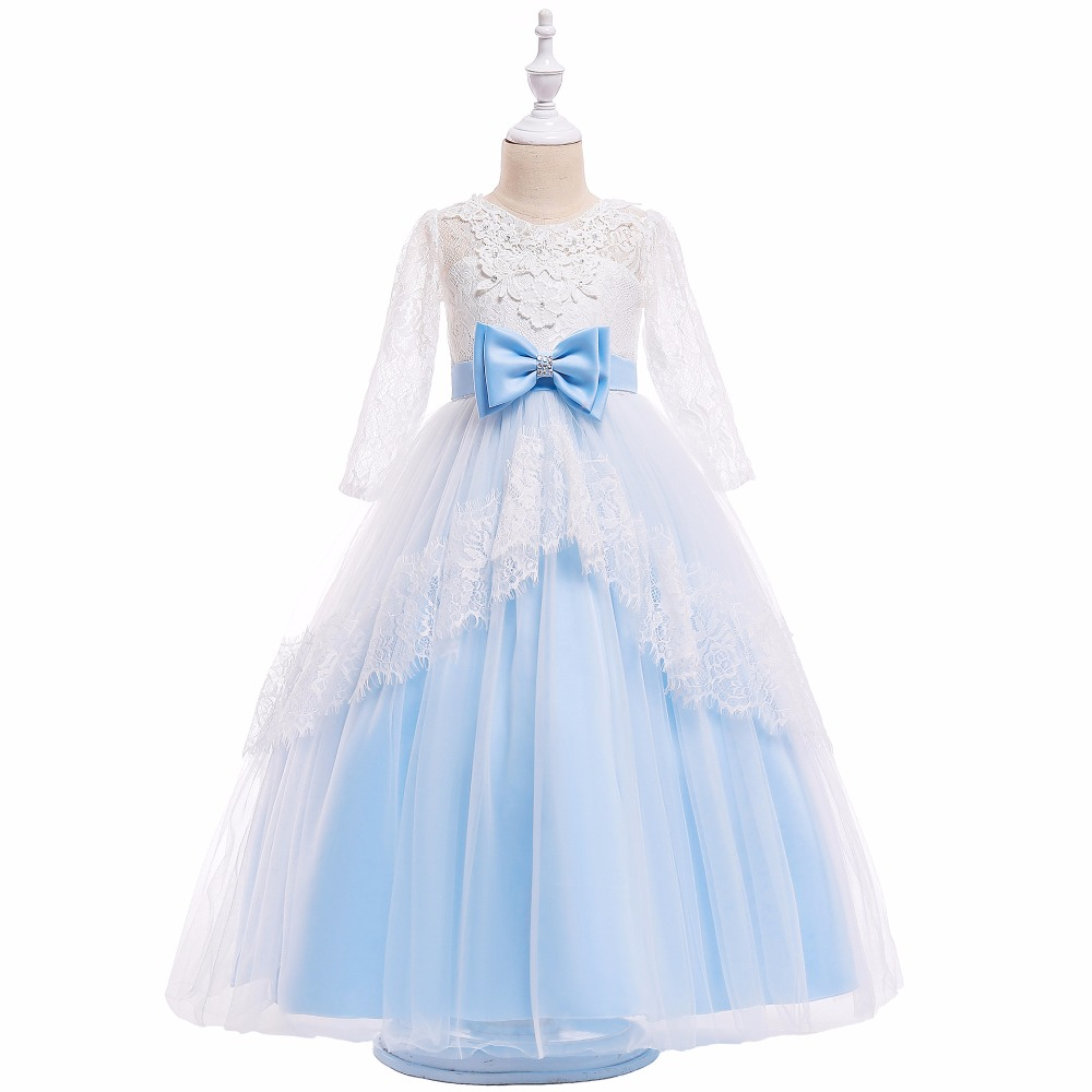 Dress   Blue Lace Wedding Pageant 2018 Summer Party   Dresses   Clothes Size   Flower     Girl     Dresses