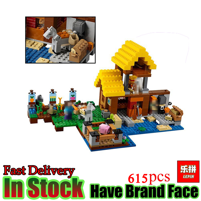 Lepin My World Minecraft 615pcs The Farm Cottage 21144 Alex House Skeletons Building Blocks Bricks toys For Children Kids Gifts lepin my world 406pcs classic tree house legoingly minecraft model figures building blocks bricks kids toys for children gift