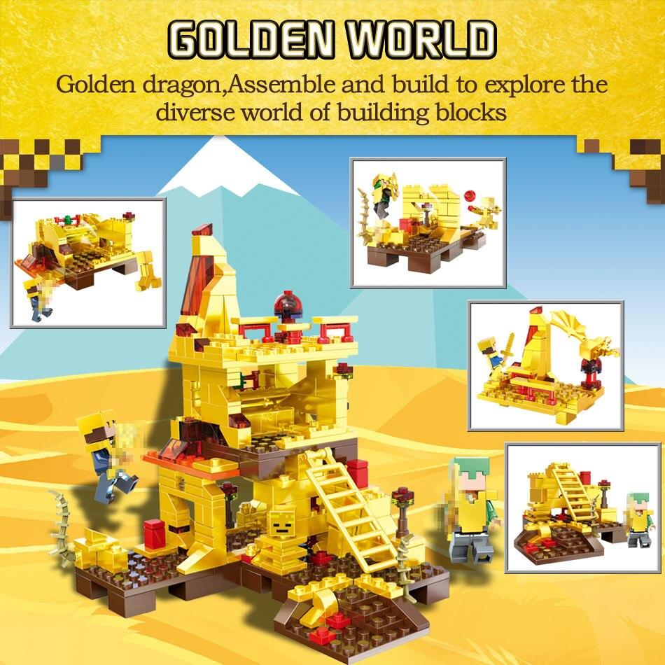 MY World Technic Golden Dragon Building Blocks Compatible LegoINGLYS Minecrafter Golden World Eductional Kit Children Toy 293PCS 1