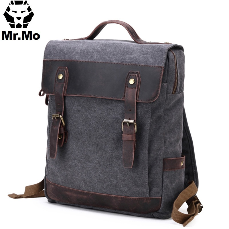 Mens Fashion Leather Canvas Laptop Backpacks Back Pack School Bags Itabag 2018 Summer Wear-resisting Book Packing Bag Organizer ...