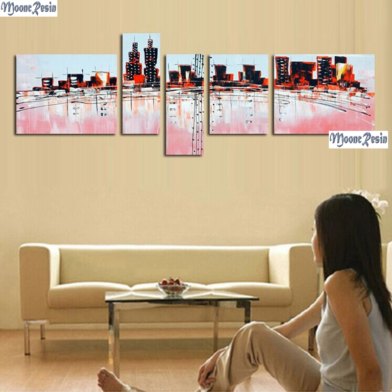 MOONCRESIN Triptych Diamond Mosaic 5PC Tall Buildings Pattern Sticker Full Square 5D Diamond Embroidery Diy  Diamond Decoration MOONCRESIN Triptych Diamond Mosaic 5PC Tall Buildings Pattern Sticker Full Square 5D Diamond Embroidery Diy  Diamond Decoration