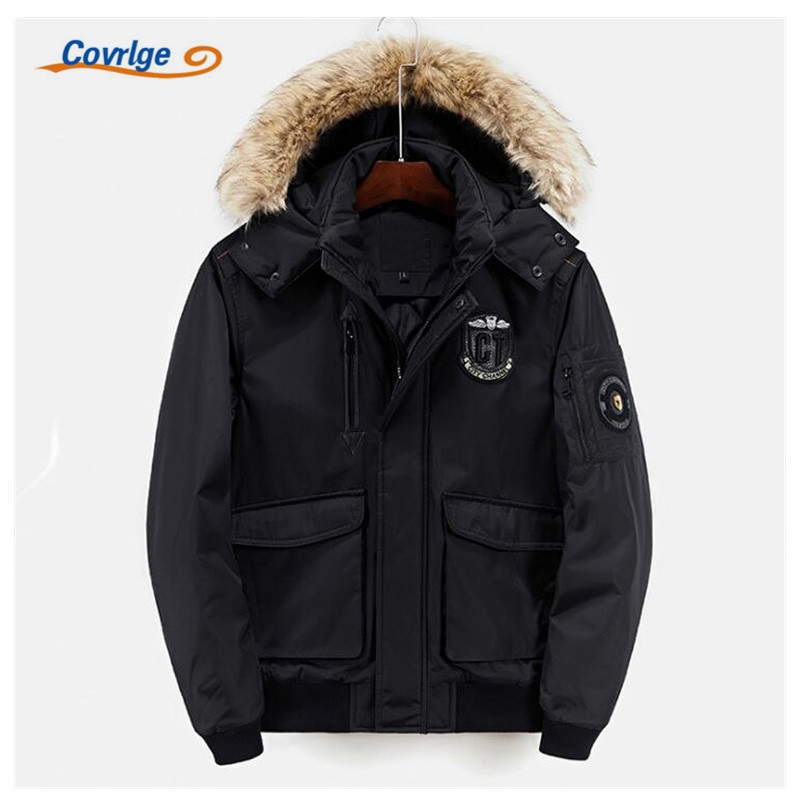 Covrlge 2017 Men Parka New Warm Cotton Coat Thick Hooded Fur Collar Fashion Man Coats Winter Jacket Free Shipping S-3XL MWM030 new european men winter coats warm thick hooded coats pure color men coats for free shipping