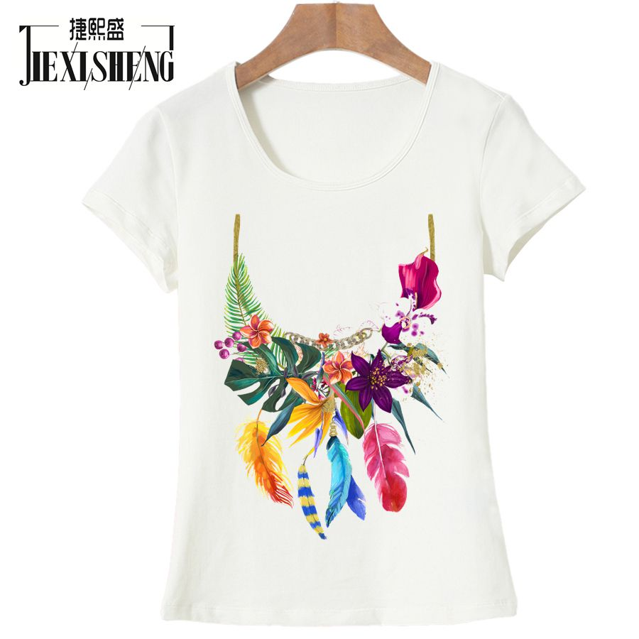 Fashion Design Wreath Print Women T Shirt Top Quality Short Sleeve O Neck T-shirt Casual Loose Women's Clothing