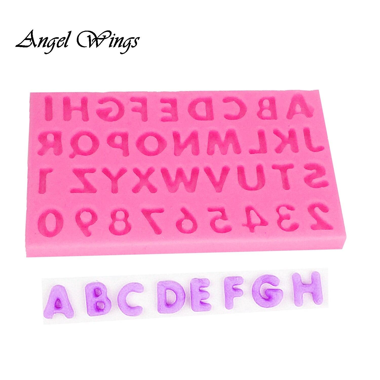 Molde silicona fondant chocolate fimo jabón alas decoracion letras números