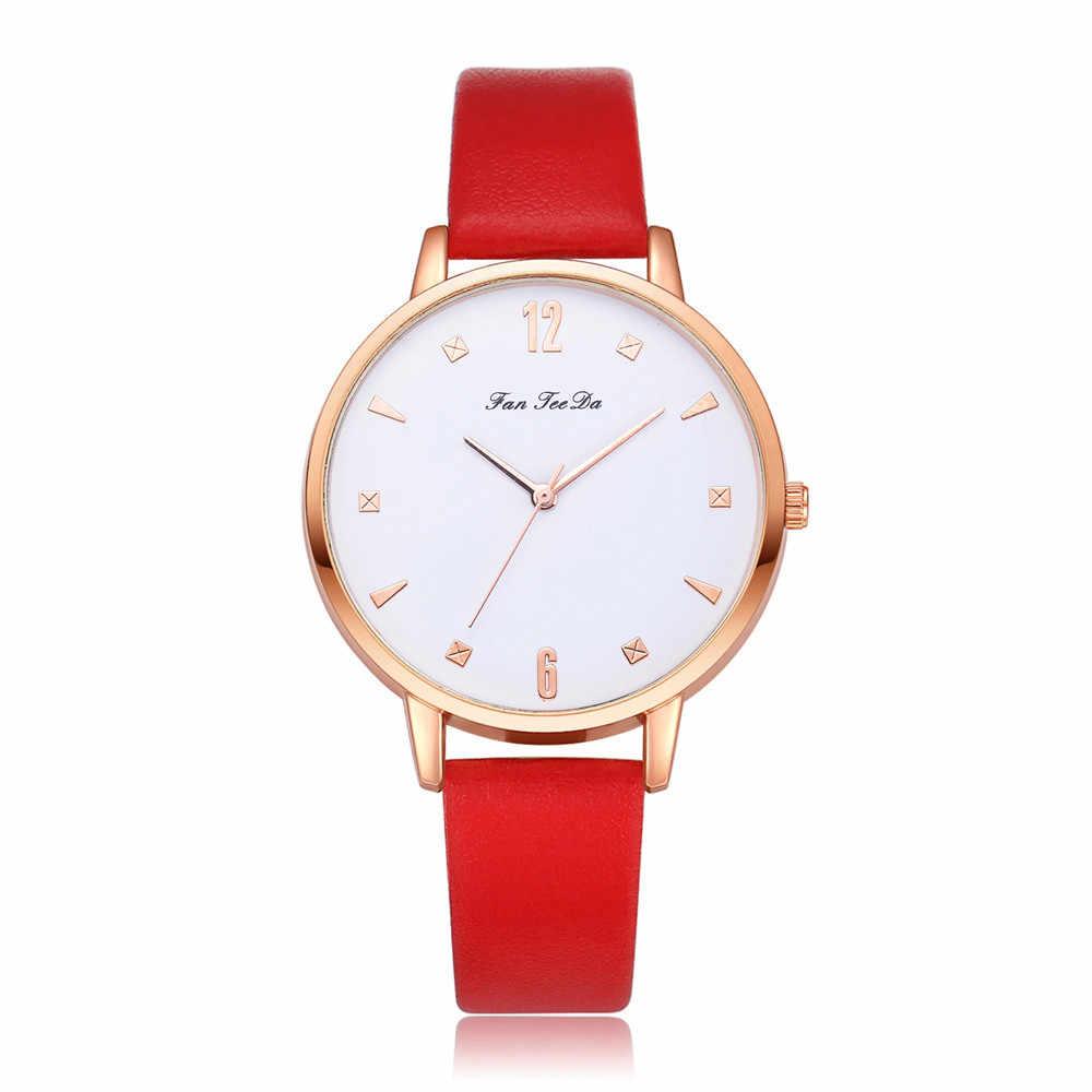 2018 reloj minimalista reloj de mujer de lujo de cuero de moda banda analógico de cuarzo ronda reloj de pulsera Relojes 11,08
