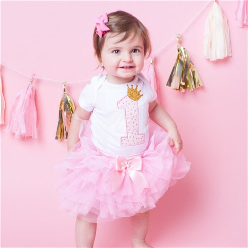 Algodón Bebés Ropa 1 año 1st cumpleaños fiesta para niña niño niños bautismo tutú trajes con diadema