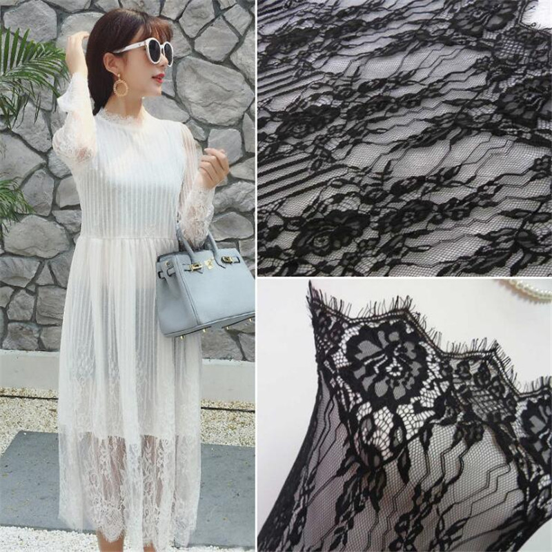 3Metersx 150CM Factory direct sale black and white new lace eyelash lace wedding dress lace lace fabric width LB0039