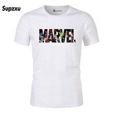 2019 new fashion Marvel short-sleeved shirt mens super hero print T-shirt ö collar comics Man Wei clothes T-s