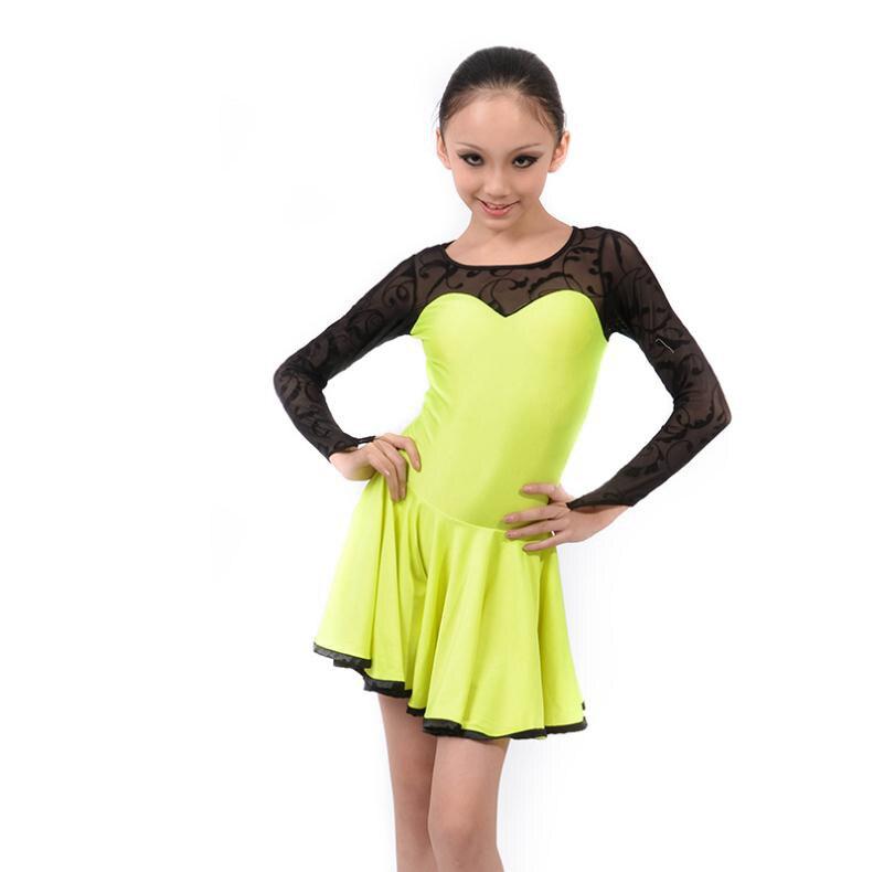 New Style Latin Dance Costumes Senior Sexy Lace Long Sleeves Latin Dance Dress For Women / Girls Latin Dance Dresses S-4XL