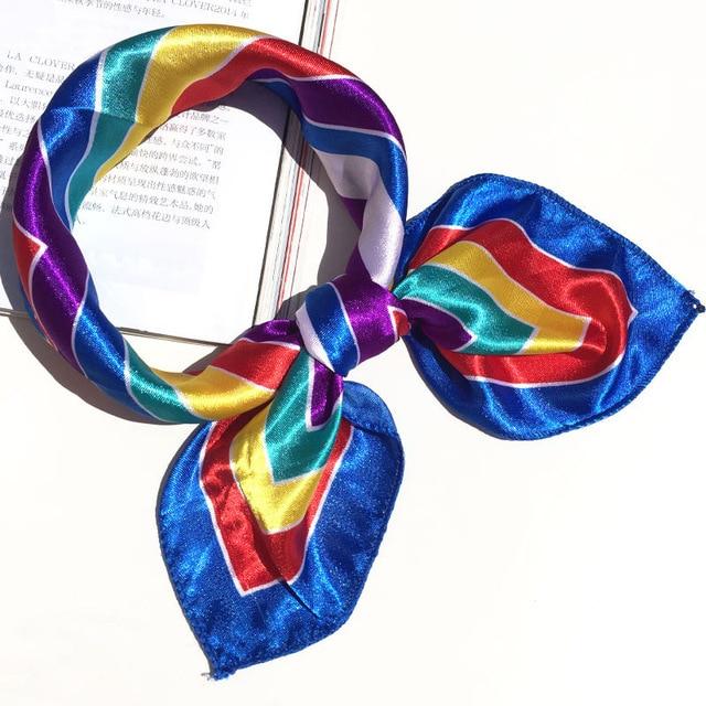 50*50 Multifunction Silk Scarf women fashion Printed Scarves Hair Tie Flower Leopard Striped Ribbon Headwear Retro Neckerchief 6