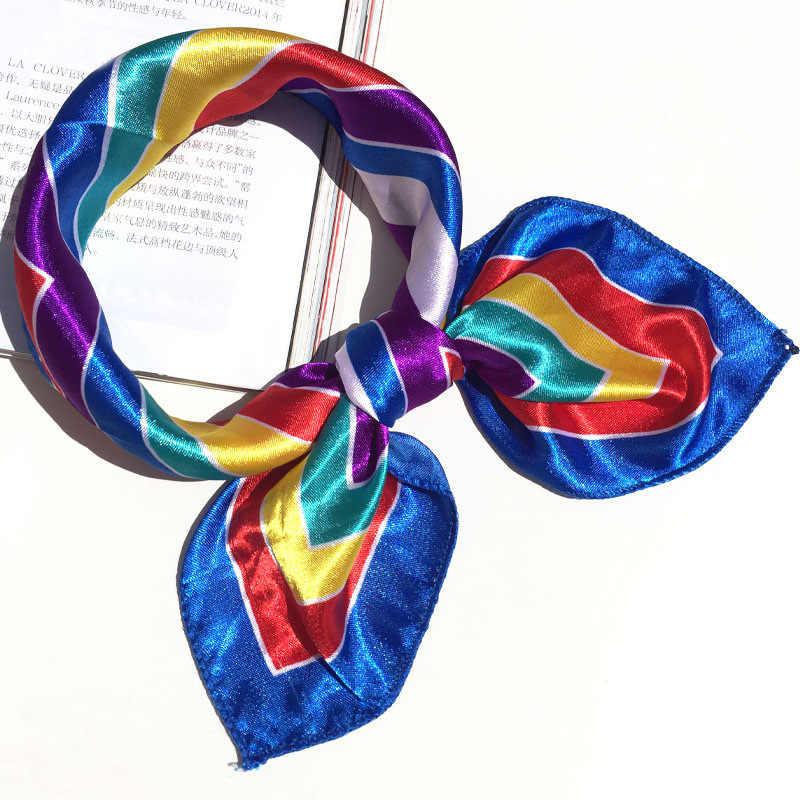 50*50 multifunktions Silk Schal frauen mode Gedruckt Schals Haar Krawatte Blume Leopard Gestreiften Band Headwear Retro Halstuch