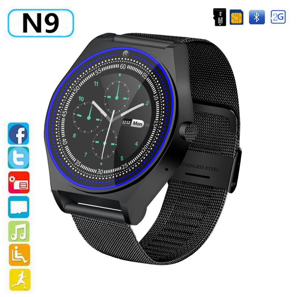 N9 Smart Watch with Metal Strap Camera Bluetooth SIM TF Card Wristwatch For Android Phone Wearable Devices pk Y1 GT08 DZ09 V9 умные часы smart watch y1