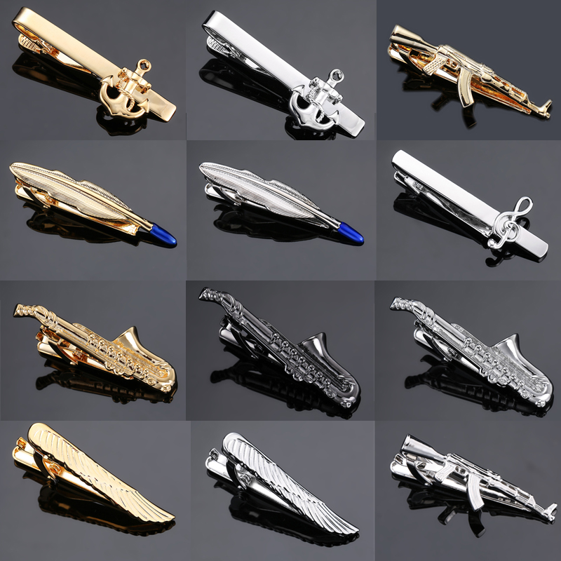 1 Piece Feather Guitar gun Anchor music sax Silver gold Metal Tie Clip for Men Tie Bar Crystal Necktie Clips Pin For Mens Gift