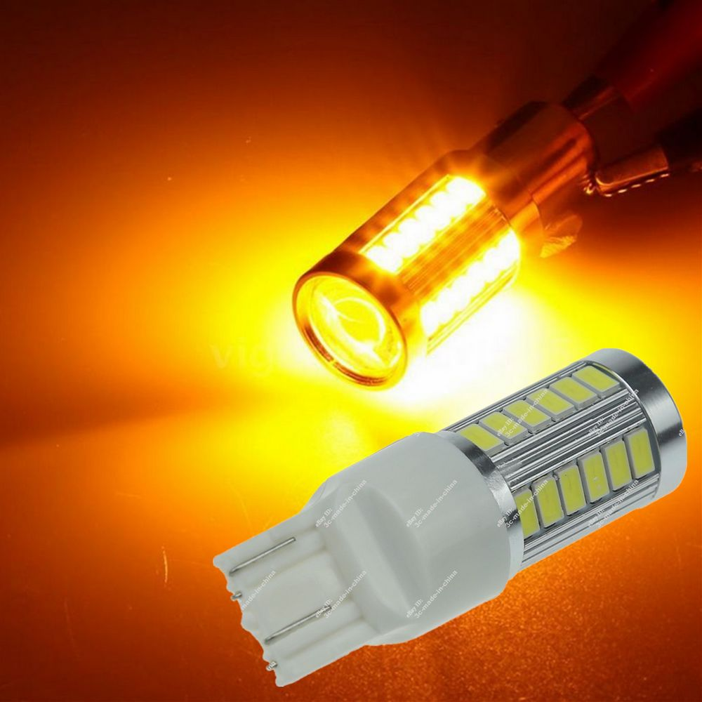 CYAN SOIL BAY T20 W21W 7443 7440 33 SMD 33SMD LED 5630 Backup Reserve Amber Orange Yellow Fog Light Brake Bulb Lamp 12V 24V cyan soil bay amber yellow orange 1157 bay15d p21 5w 33 5730 33smd led brake turn signal rear light bulb 12v 24v