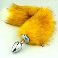 גודל התוספת זנב 3 חמה למכירה אנאלית plug אט מתכת זהב ארוך 35 ס