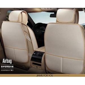 Image 4 - الكتان غطاء مقعد السيارة محاطة بالكامل الجلود الكتان أربعة الموسم حصيرة وسادة مقعد السيارة 95% 5 مقعد سيارة يمكن استخدام غطاء مقعد السيارة s