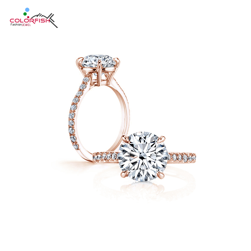 COLORFISH Classic Four Prong 3 ct Round Brilliant Cut Engagement Solitaire Ring Sterling Silver Rose Gold
