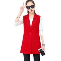 Sleeveless Suit Vest 2018 Spring Autumn Slim Women Vest Coats Fashion Elegant Female Vest Jackets Turn Down Collar Vests YP0924