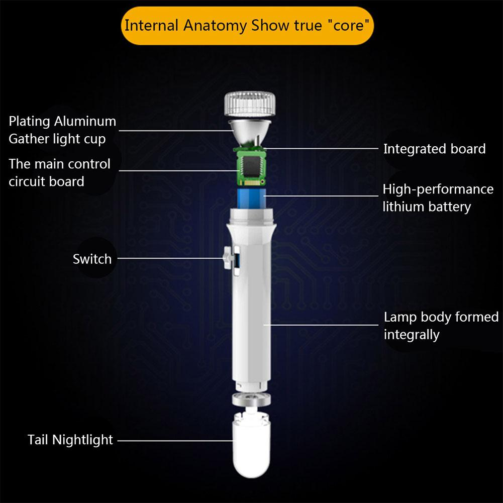 AKDSteel Portable LED Flashlight 2 Light Modes Torch with Head & Tail Lamp Outdoor Activity Emergency Nightlight Torch