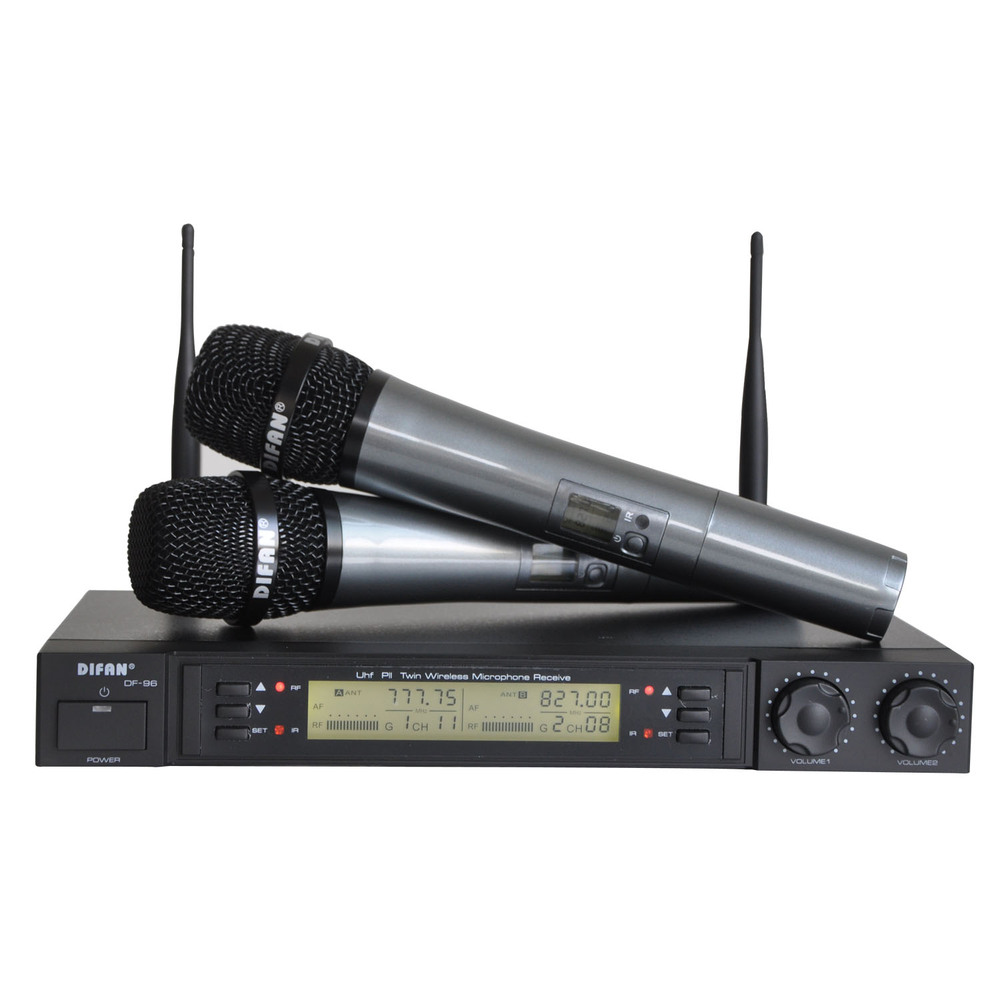 uhf wireless microphone system dual channel ir frequency wireless microphone karoke ktv party. Black Bedroom Furniture Sets. Home Design Ideas
