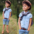 2016 fashion boys clothes sets Cotton Plaid Denim T shirt+ Short Jeans Pants Kids Summer cowboy skirt and short jeans