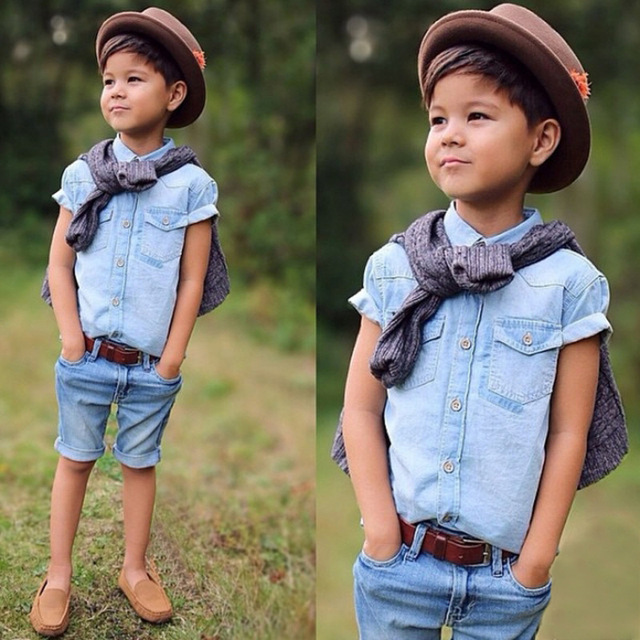 2016 moda meninos conjuntos de roupas de algodão xadrez Denim T shirt + Short calça Jeans Kids verão cowboy saia e calças de brim curtas