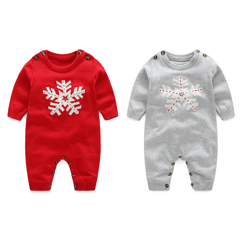Snowflake Knitted Jumpsuit Baby Clothes Pure Cotton Outwear Knitted   rompers   Wool Baby Clothing Long Sleeved winter   Rompers   0-24m