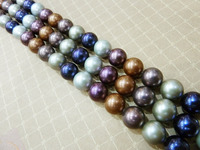 Hot sell >@@ N586 natural AAA+ 12mm mix color loose shell pearl strand DIY beads 5 Strand Top quality free shipping