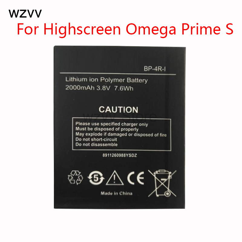 wzvv Rechargeable battery 2000mAh battery BP-4R-I For Highscreen Omega Prime S mobile phone + Tracking Code