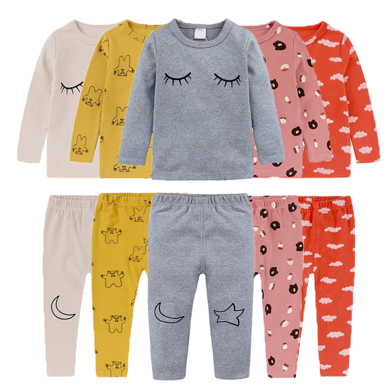 2 Teile/los Langarm Kinder Kleidung Niedlich Thermische Unterwäsche Set Jungen Lange Unterhosen Baby Mädchen Pyjamas Baumwolle Kinder Kleidung Ausgereifte Technologien