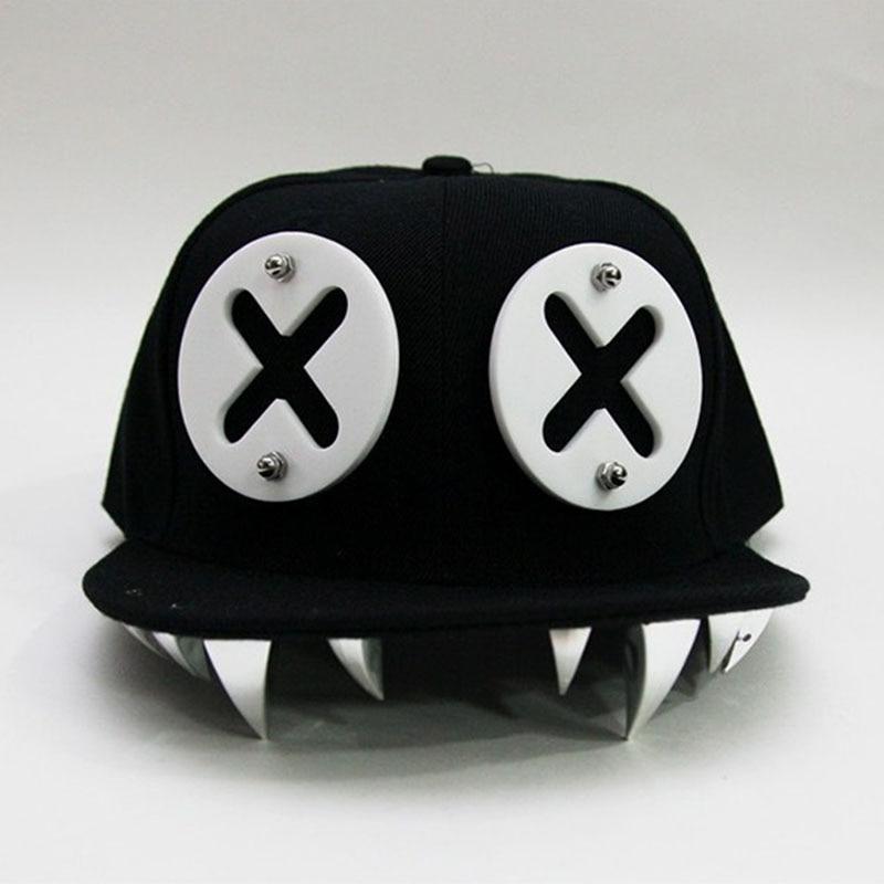 Gorras Punk Hip Hop diablo monstruo Dental acrílico hueso Snapback sombreros remache gorra de béisbol Ockstar para hombres y mujeres hueso Aba Reta