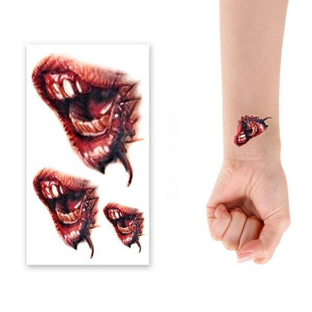 2016 Diy Moda 10 Sztukpartia Horror Bloody Usta Wodoodporne Tatuaż