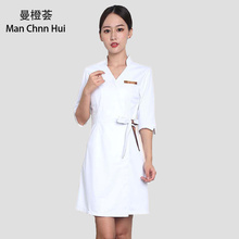 New spring Women Spa Beautician Work Clothes Uniform Beauty Salon Surgical Hospital Dress Overalls Slim Fit Medical Gown