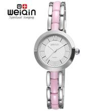 WEIQIN Мода Часы Женщины Розовое Золото Белые Керамические Кварцевые Часы Девушка Дамы Платье Wirstwatch Водонепроницаемый Диких Часы