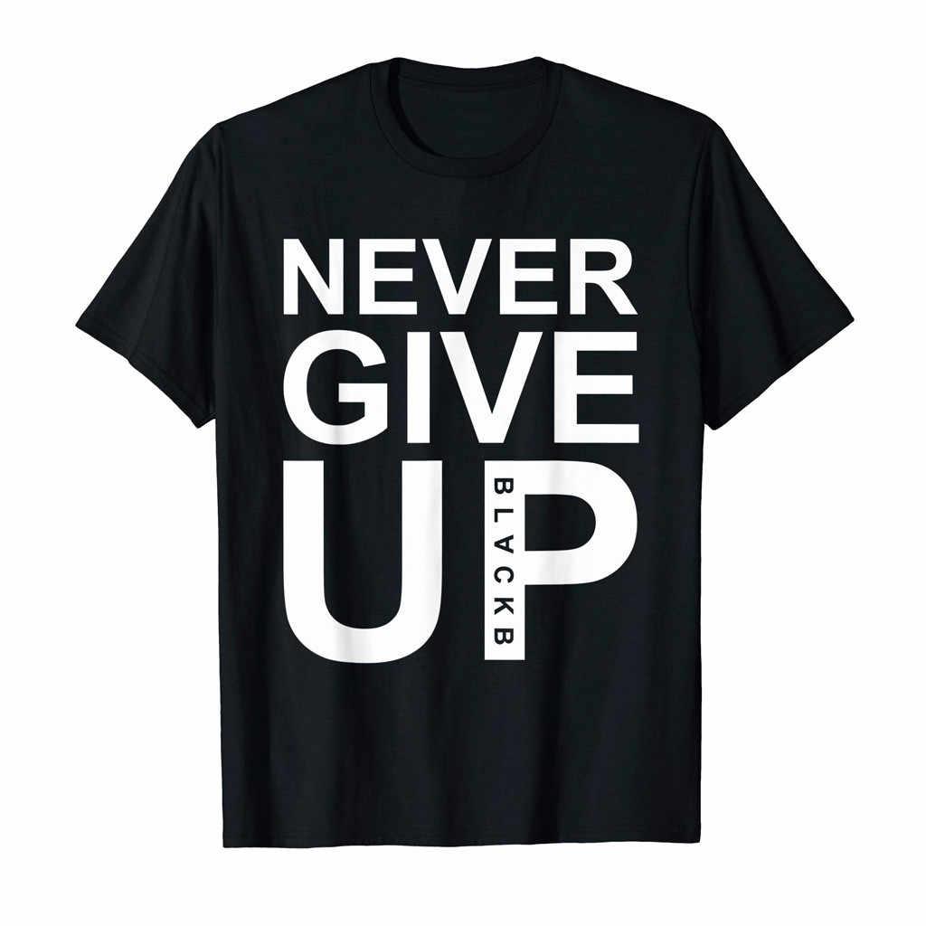 Feitong Fashion Pria Huruf Cetak Lengan Pendek Kasual T-Shirt Tops Kasual O Leher Kapas Pusat Tshirt Pakaian Olah Raga