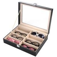 8กริดหนังPUแก้วกล่องเก็บแว่นกันแดดแสดงกล่องแว่นตาออแกไน