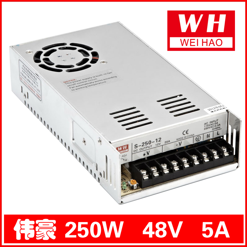 все цены на CNC 48V 5A Regulated Switching Power Supply AC 220V/110V to 250W/DC48V/5A S-250-48 онлайн