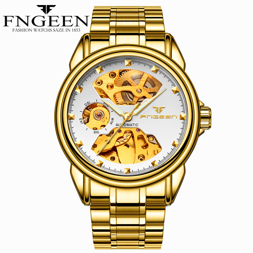 FNGEEN Luxury Brand Self Wind Gold Relogio Stainless Steel Band Analog Male Casual Clock Wrist Men Automatic Mechanical WatchFNGEEN Luxury Brand Self Wind Gold Relogio Stainless Steel Band Analog Male Casual Clock Wrist Men Automatic Mechanical Watch
