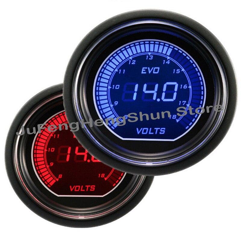 2 inch 52mm 1 16 Car Volt Gauge Blue and Red LED Light 12V Car Gauges