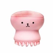 2 шт. милые животные маленькие в форме осьминога силиконовые щетки для чистки лица Глубокая очистка пор отшелушиватель лица щетка для мытья лица
