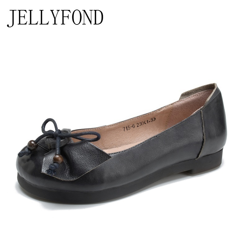 2018 Vintage Style Round Toe Slip On Designer Women Flats Genuine Cow Leather Bow Ladies Loafers Driving Shoes Woman 2017 vintage style real leather women flats brife pointed toe slip on handmade genuine leather designer shoes woman