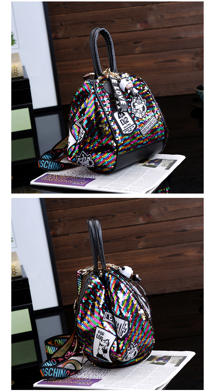 backpack women Fashion Women Bling Shiny Sequins Sparkling Shoulder Bags Larger Capacity Drawstring Bag backpack 89