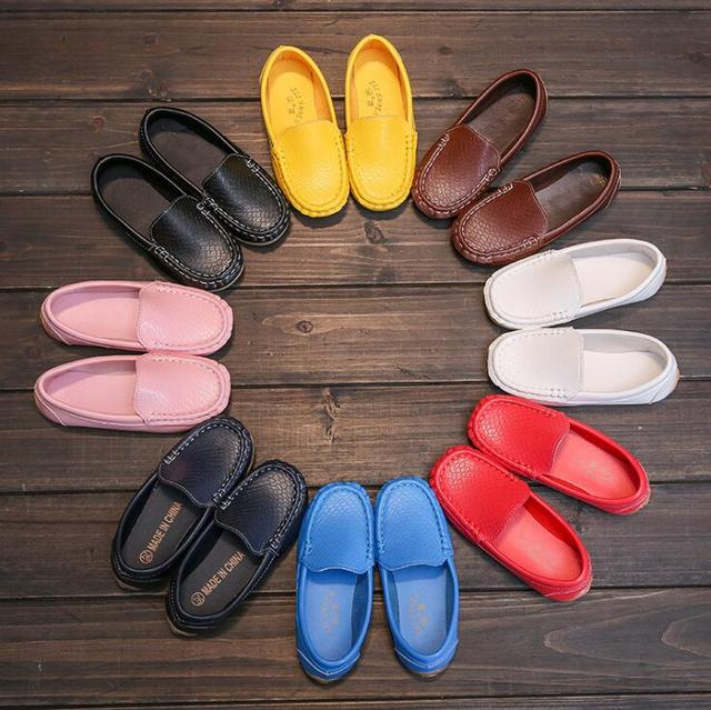 8 Colors Unisex Kids Shoes All Seasons Boys Loafers Soft PU Leather Moccasins Girls Shoes Size 21-37 7HW0336 1
