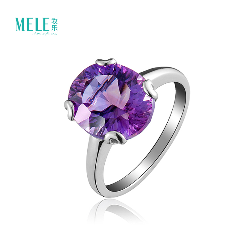 Natural amethyst silver rings 0val main gemstone wiht 10X12mm Contracted and fashionable for