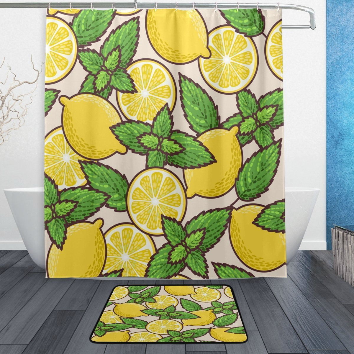 Fresh Lemon and Peppermint Waterproof Polyester Fabric Shower Curtain with Hooks Doormat Bath Floor Mat Bathroom Home Decor