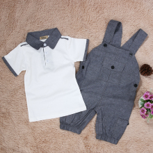 Baby Clothing White Short Sleeve Turn-down T-shirt Tops + Gray Loose Suspender Overall Pants Baby Boys Clothes Set 0-24 Month