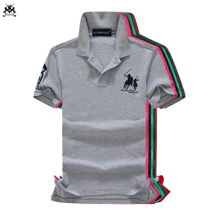 High quality 2018 Summer Mens short sleeve horse   polos   shirts casual cotton mens lapel   polos   shirts fashion slim mens tops